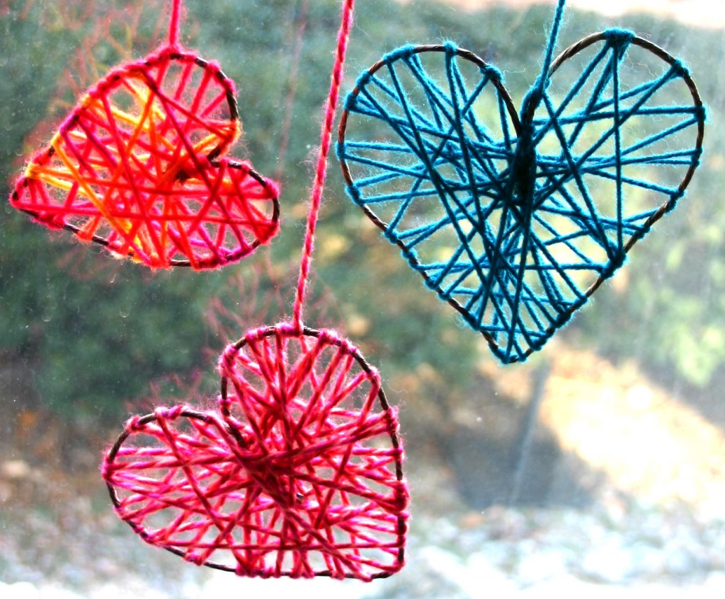Puppy Love Preschool: DIY Valentine Yarn Hearts Kid Craft