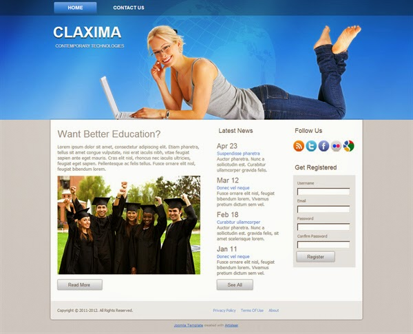 Claxima - Free Joomla! template