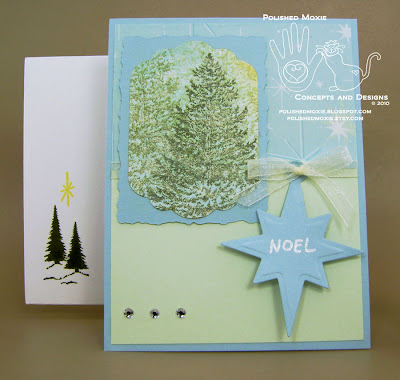 Picture of my handmade evergreen trees Christmas card with a Noel tag and coordinating envelope