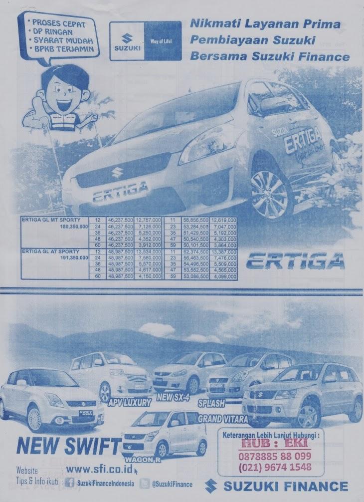 Harga dan Paket Kredit Mobil Suzuki Finance 2014