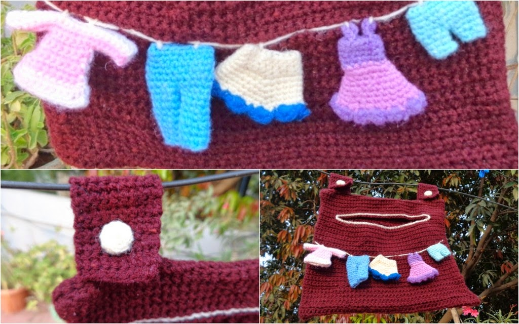 Crochet clothes pin holder and hangers My experiments ...