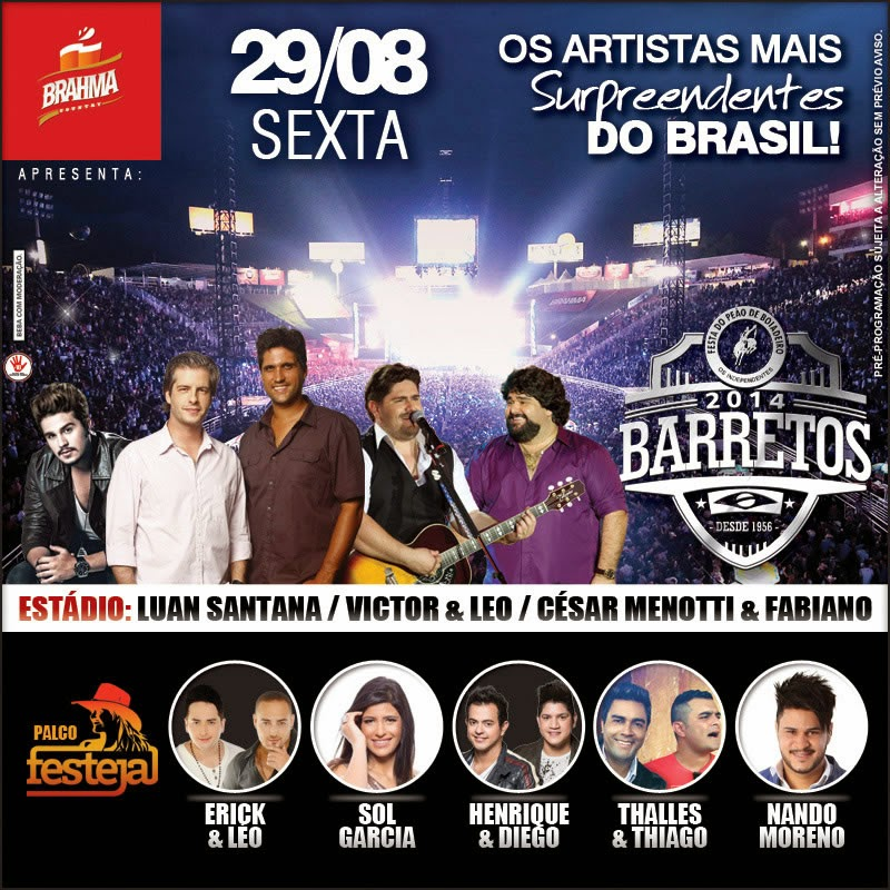 Programa��o da 59� Festa do Pe�o de Barretos 2014 - Dia 29/08/2014