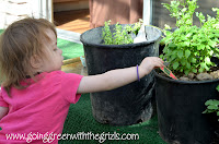 toddler helping with patio plants