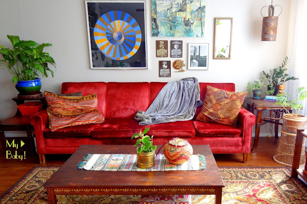Boho Living Room Ideas with Red Couch
