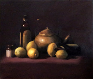 Oil painting of several lemons, a brass teapot, two bottles and a small earthenware jar.