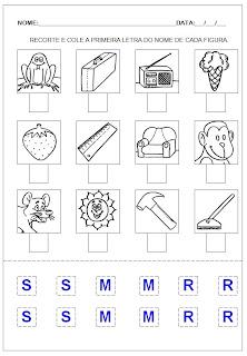 Hipótese de escrita pré-silábica - Recorte e cole a letra inicial 3.