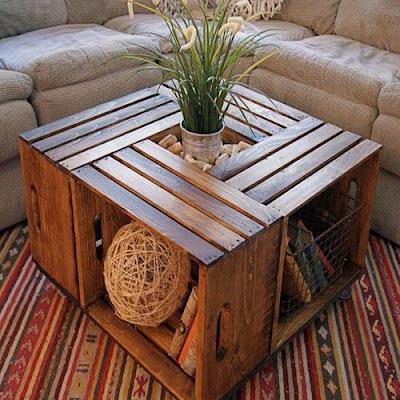 Cajas de frutas recicladas para hogar como mesa salón