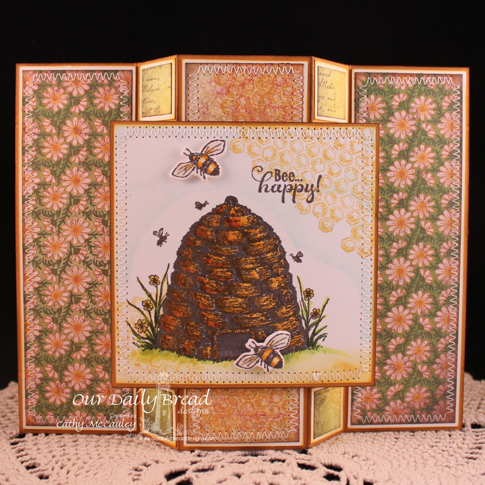 Stamps - Our Daily Bread Designs Bee Happy, Honeycomb Mini, ODBD Blooming Garden Paper Collection, ODBD Custom Zinnia and Leaves Die