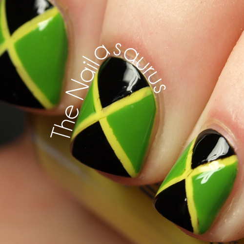 31DC2012 Day 28: Inspired by a Flag... Jamaica - The Nailasaurus | UK Nail  Art Blog - 31DC2012 Day 28: Inspired By A Flag... Jamaica - The Nailasaurus