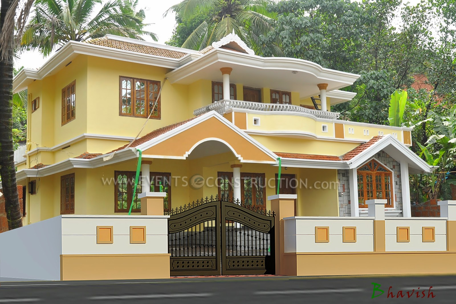 Evens construction pvt ltd compound wall design for Wall gate design homes