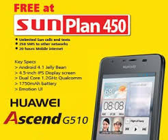 Sun cellular offers huawei ascend g510 at sun plan 450 for Sun mobile plan