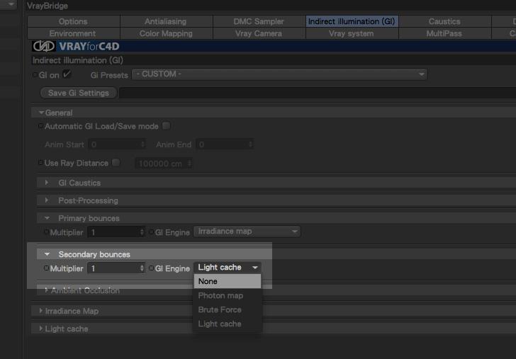 secondary bounce disattivato per animazione flickering free con vray e cinema4D