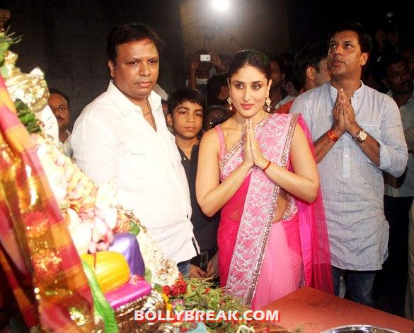 Kareena Kapoor in a pink saree with border looking sensational as ever even for pooja - Kareena Kapoor attends Ganesh Chaturthi Puja