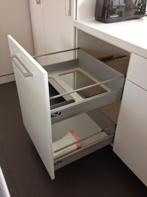 "non-flimsy full height, 24"" wide recycling and trash cabinet - ikea"