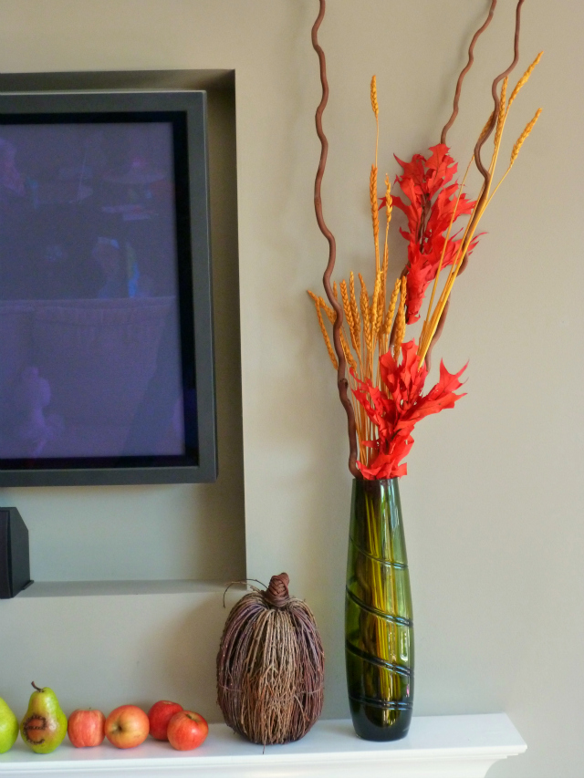 Dried fall leaves and grass arrangement tutorial