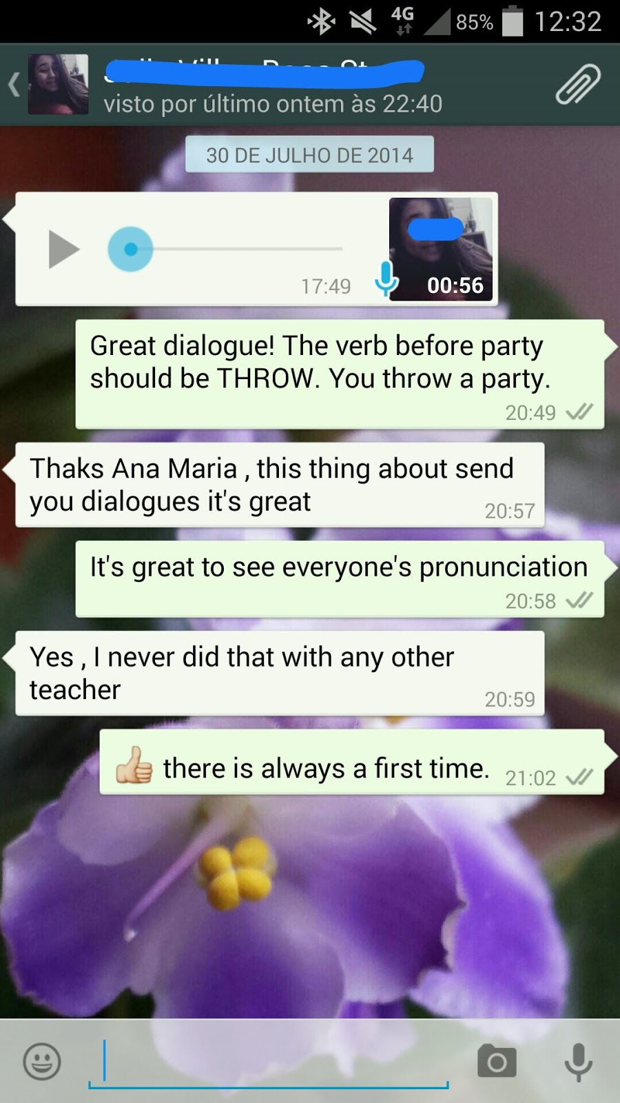 Helping students develop speaking with Whatsapp