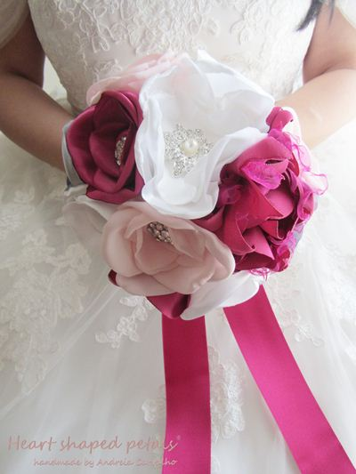 Bridal fabric bouquet shades of pink