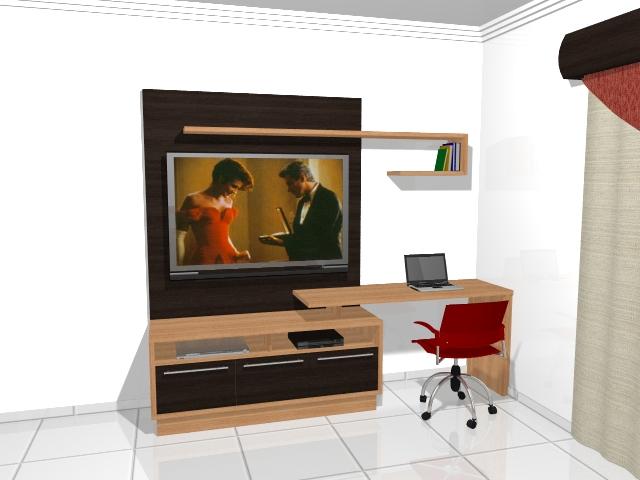 Home Office Sala De Tv ~ Vitality Móveis Planejados Home Office com Painel de TV Agregado