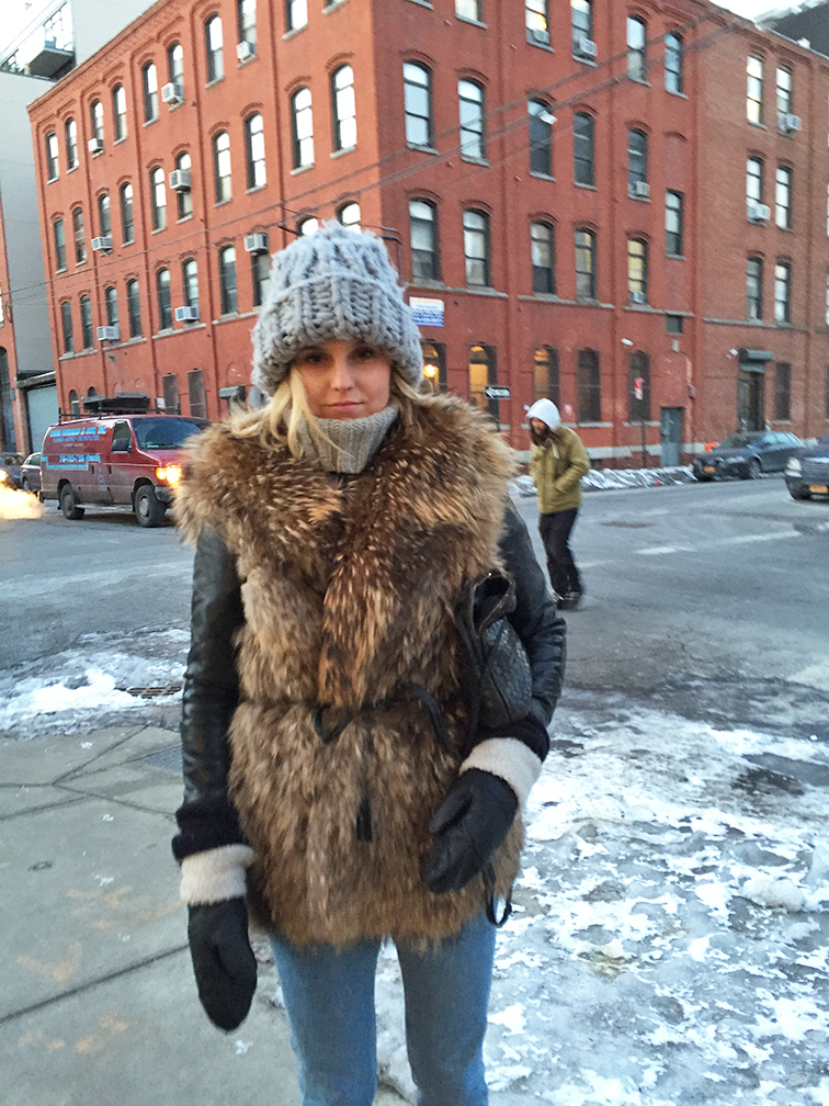 Fashion Over Reason in Brooklyn, Adrienne Landau fur vest, Bottega Veneta cross body bag, chunky knit H&M beanie