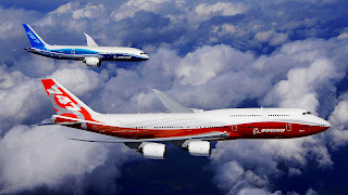 Blue and Red Boeing Planes Sky HD Wallpaper