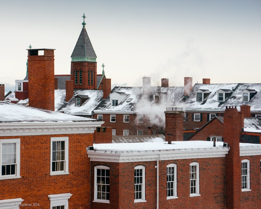 Portland, Maine USA January 2016 brick rooftop skyline of the West End from the Portland Museum of Art. Photo by Corey Templeton.