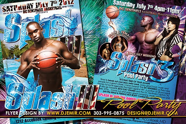 Splash 3 DC Sentinels Annual 4th of July Independence Day Pool Party Flyer Design