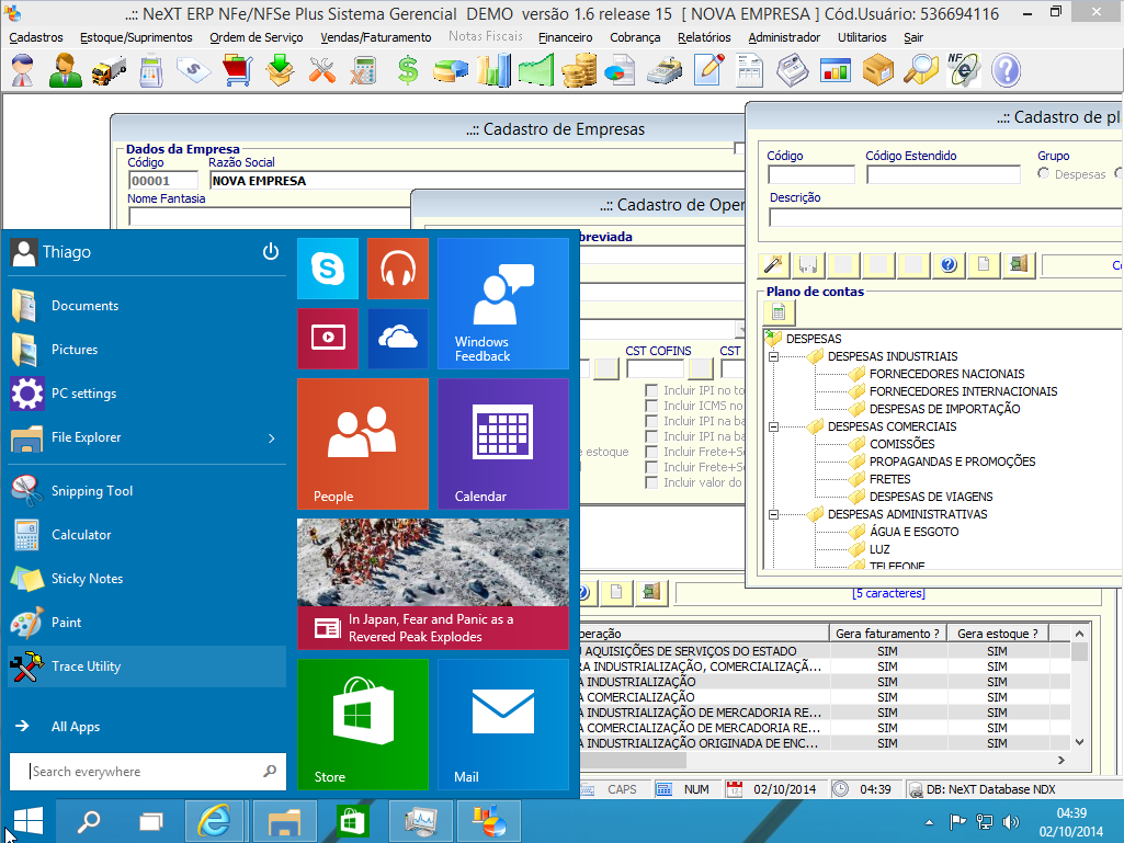 NeXT ERP 1.6.15 Windows 10 Technical Preview