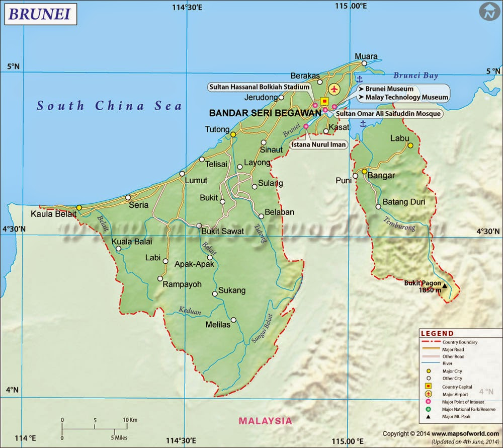 Brunei share world maps of brunei darussalam world maps of brunei darussalam brunei darussalam location on in southeast asia is a sovereign state located on the north coast of the island of borneo gumiabroncs