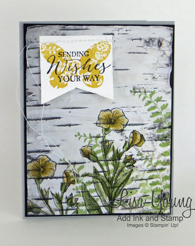 Stampin' Up! Butterfly Basics stamp set and Adventure Bound Paper Yellow flowers with ferns stamped on birch bark paper. Handmade card by Lisa Young. From the Stamp Review Crew blog hop featuring the Butterfly Basics stamp set. The link to the blog hop is on the blog, Add Ink and Stamp