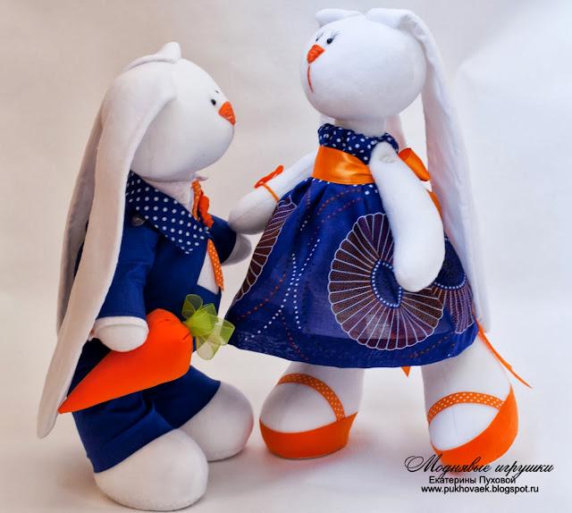 парочка зайцев, оранжевый цвет