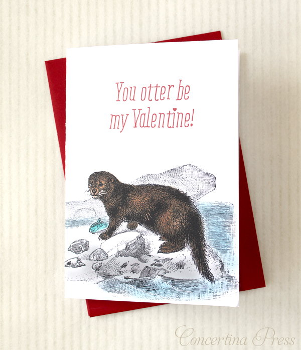You otter be my Valentine - cute card from Concertina Press