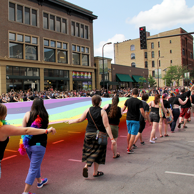 Rainbow flag at Pride, '15