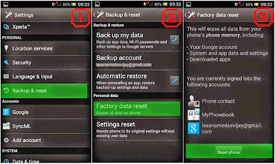 Hard Reset Sony Xperia neo L MT25i using menu