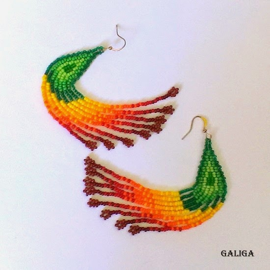 colorful seed bead earrings-earrings with fringe-from green to chocolate-autumn earrings