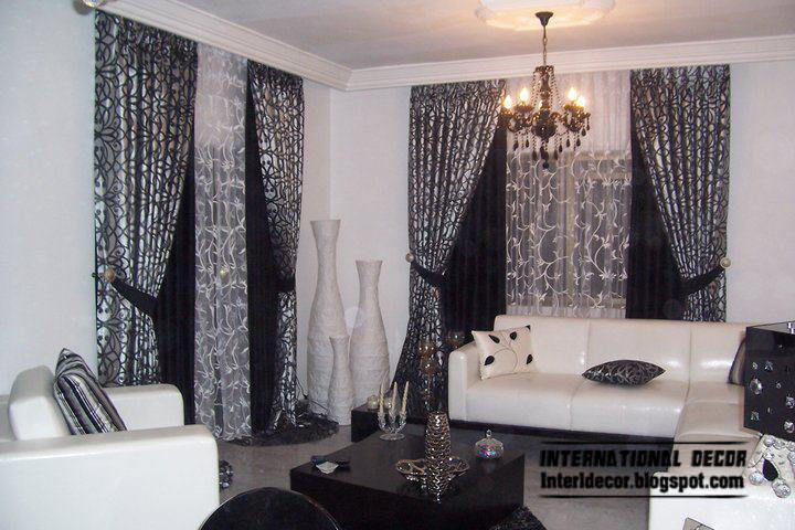 Curtains catalog designs styles colors for living room for Black and white curtain designs