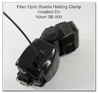 Fiber Optic Bundle Holding Clamp Installed on Nikon SB-800