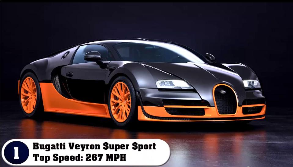 1 bugatti veyron super sport top speed 267 mph 430 kmh - Super Fast Cars In The World