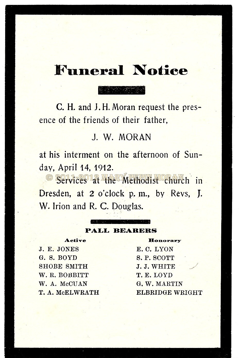 Moran Place Preserving History One Piece at Time 100th – Funeral Notice Template