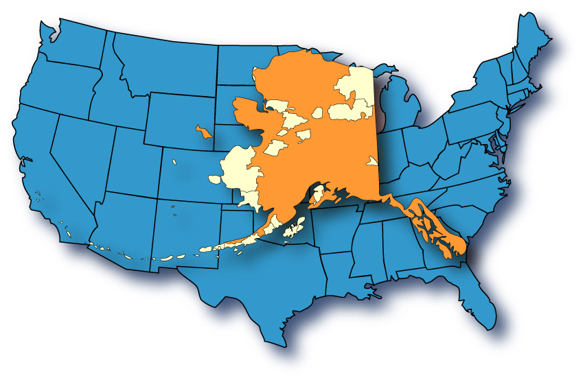 in case you need any interpreting if you consider the aleutian islands alaska covers an area from california to florida and north to the canadian border