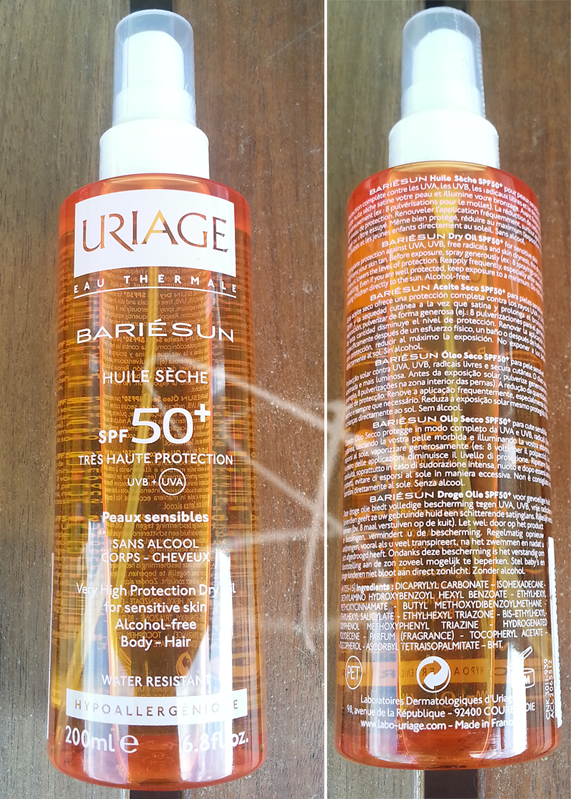 huile seche spf 50+, linea solari solare Uriage Bariésun, solari, solari senza octocrilene,