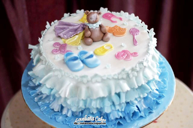 Ombre baby shower cake for Akeka Baby Darius