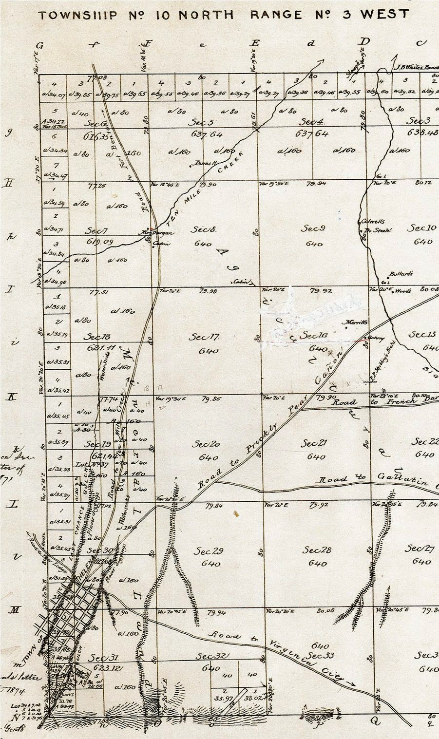 all roads entered last chance gulch via main street as illustrated in this 1868 map streets on the grid from left to right clore today s park street