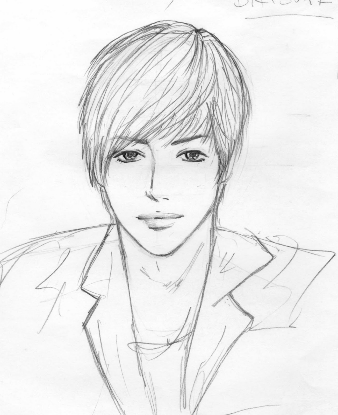 how to draw anime male face front view