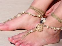 Barefoot Sandals With Earth Tones Shells Metal Fish
