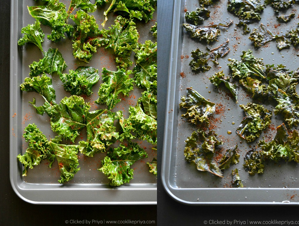 Kale Leaves before and after baking