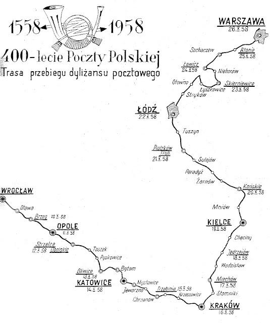 Trasa przejazdu dyliżansu pocztowego. 400-lecie Poczty Polskiej. Mapkę udostępniło Muzeum Poczt i Telegrafów we Wrocławiu.