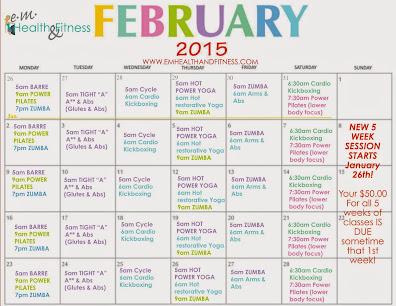 Feb Fitness Class Schedule