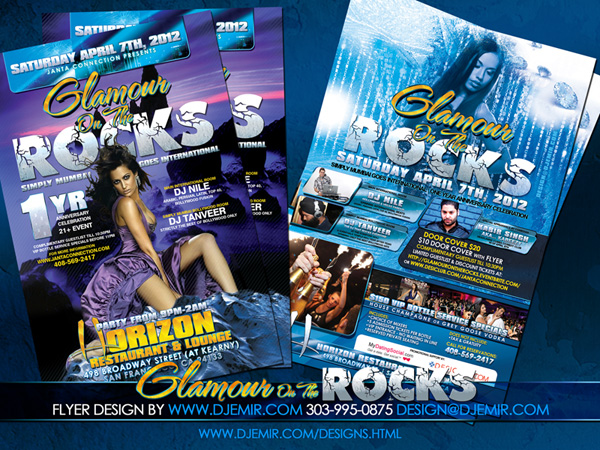 Glamour on The Rocks San Francisco Bollywood Party Flyer Design