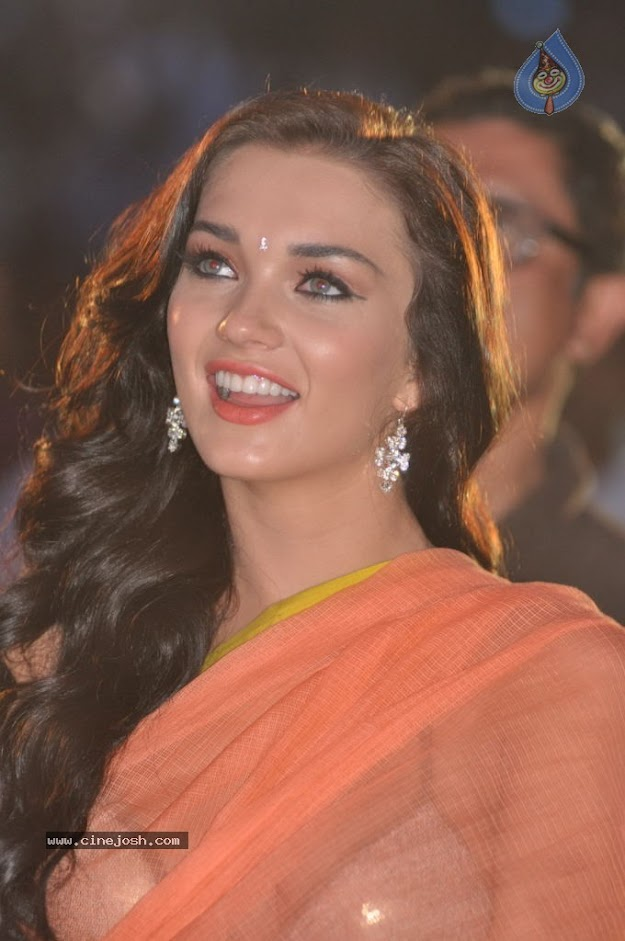 Amy Jackson in orange transparent saree - (4) -  Amy Jackson in Orange Transparent Saree at event