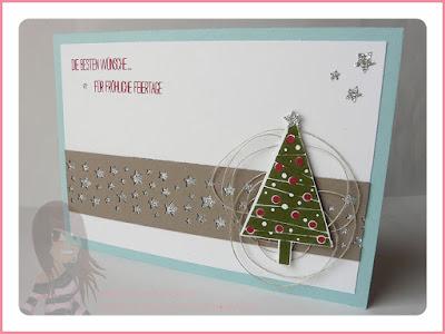 Stampin' Up! Rosa Mädchen Kulmbach Weihnachtskarte Christbaumfestival Sternenkonfettistanze Glitzerpapier